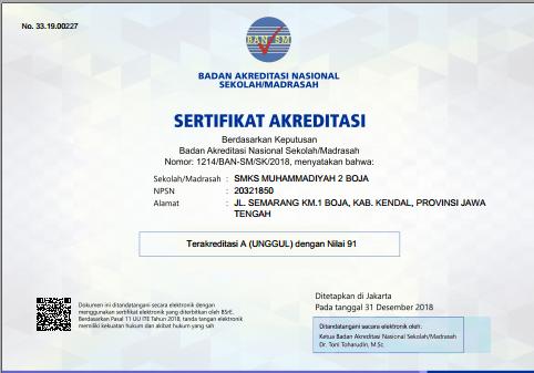 SMK DUTA TERAKREDITASI A (SEKOLAH UNGGUL) 2018